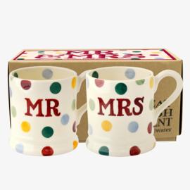 2 Boxed half pints Mr & Mrs Polka Dot