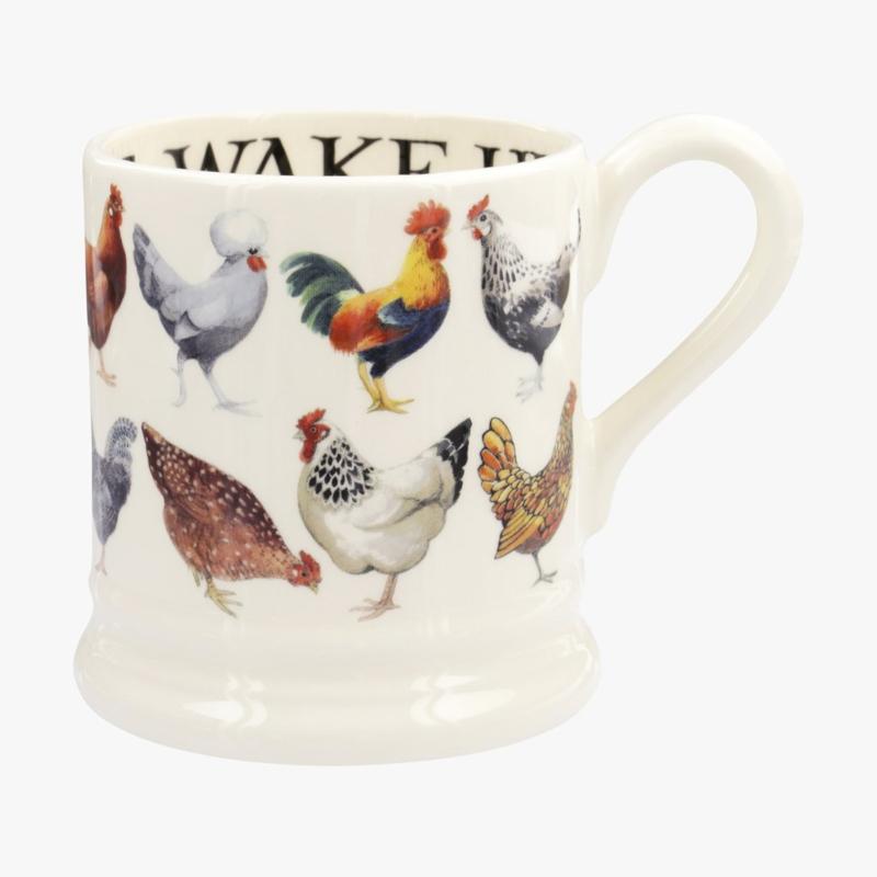 Half pint mug Hen & Toast row Hens