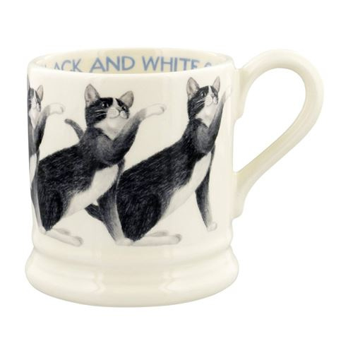 Half pint mug Black and White Cat