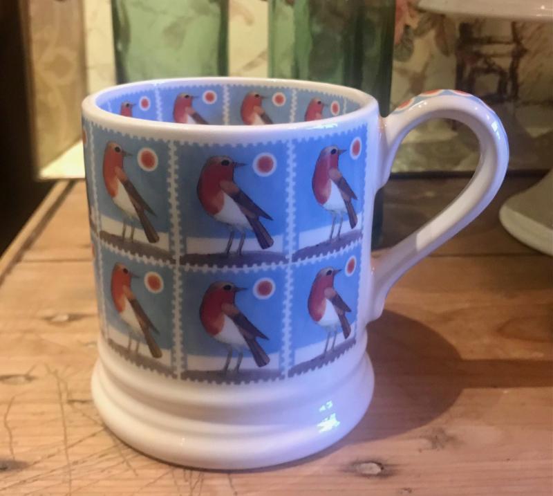Half pint mug Christmas Stamps Robin