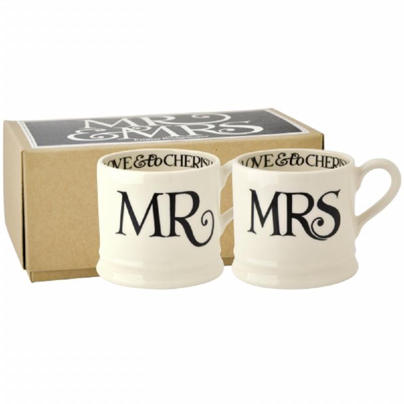 Set Mr & Mrs Black Toast small mug Emma Bridgewater