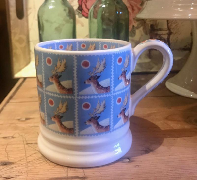 Half pint mug Christmas Stamps Reindeer