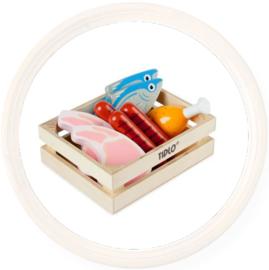 Tidlo, speelgoed Vis en vlees in kistje