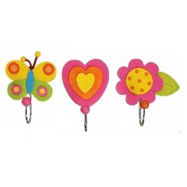 Kapstok haakjes roze vlinder, bloem, hart