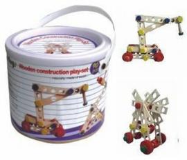 Houten speelgoed constructie in ton