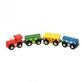 Houten trein met wagons, magnetisch