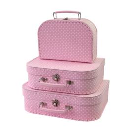 Set van 3 koffertjes roze met witte stip