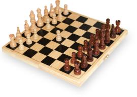 Schaken in opklapbaar kistje, schaakspel