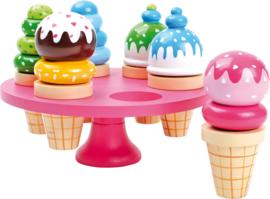 Houten stapel ijsjes in standaard, Small Foot