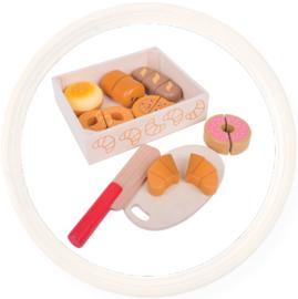 Houten speelgoed snijset brood / koek in kistje