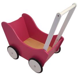 Houten poppenwagen zonder kap fuchsia roze