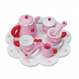 Speelgoed serviesje roze met hartjes