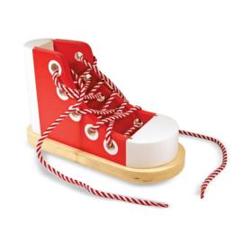 Melissa & Doug houten Veterstrikschoen, wooden lacing shoe