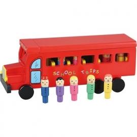 Schoolbus rood met kinderen
