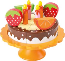 Houten speelgoed chocoladetaart met fruit en kaarsjes, Small Foot