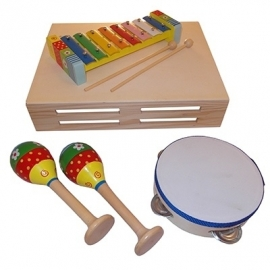 Houten speelgoed muziekset in kist, Playwood