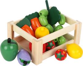 Houten kistje gevuld met houten speelgoed groente en fruit, Small Foot
