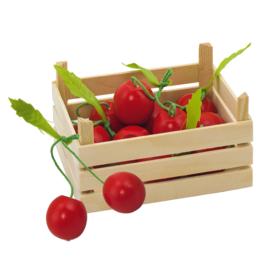 Houten groentekistje met kersen, Goki