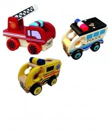 Houten ambulance, brandweerauto en politiewagen; set van 3 of los