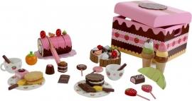 Houten speelgoed gebaksdoos met zoetigheden