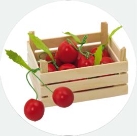 Houten fruitkistje met kersen