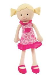 Stoffen pop met blond haar,  Fleur, 35 cm