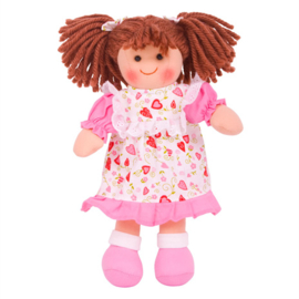 Stoffen pop Amy, bruin haar, 28 cm, Bigjigs