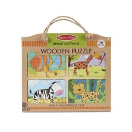 Houten puzzel dieren-patronen
