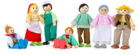 Houten poppenhuis poppetjes boerderij