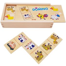 Domino boerderijdieren, 28 delig, houten