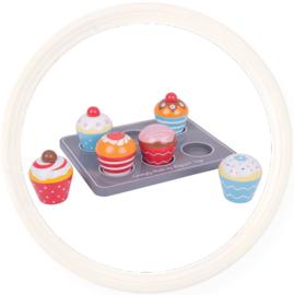 Houten speelgoed muffinset