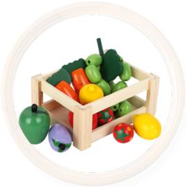 Houten kistje  speelgoed groente en fruit