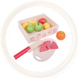 Houten speelgoed snij fruit in kistje