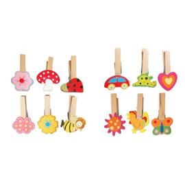 Houten speelgoed wasknijpers met motief, 12 stuks
