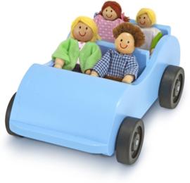 Houten poppenhuis poppetjes in auto, Melissa en Doug