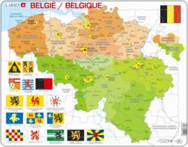 Puzzel landkaart staatkundig België - 48 stukjes, Larsen