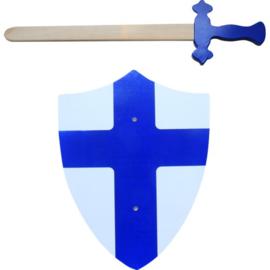 Houten zwaard en schild met kruis blauw