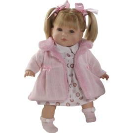Pratende pop Sandra, 40 cm, roze jas, Berbesa