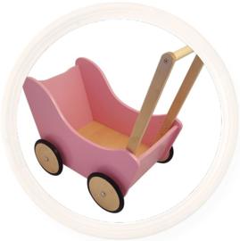 Houten poppenwagen zonder kap roze met naturel houten wielen