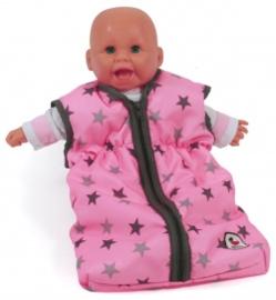 Poppen slaapzak roze met grijze sterren, Bayer chic
