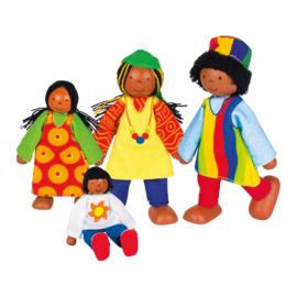Poppenhuis poppetjes Donkere familie