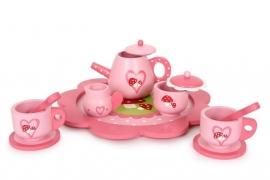Houten roze serviesje paddestoel