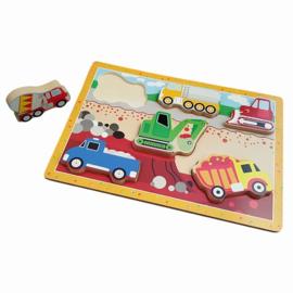 Houten puzzel met dikke stukken Bouwwagens uit de Bouw, Playwood