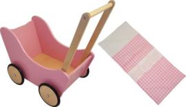 Houten poppenwagen zonder kap roze met naturel houten wielen inclusief dekje