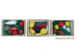 Houten Kratjes met speel groente en fruit Assortie B