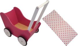 Houten poppenwagen zonder kap fuchsia roze, inclusief dekje