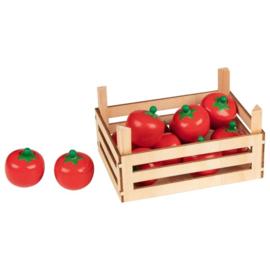 Houten groentekistje met tomaten