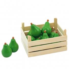 Houten peren in kistje, Goki