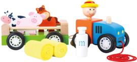 Tractor (trekspeelgoed) met dieren, small foot