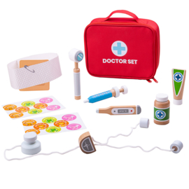 Houten speelgoed doktersset in tas, Bigjigs